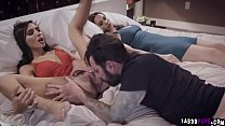 Escort lays down on bed to feed Tommy with her wet pussy!
