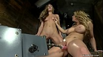 Brunette and busty blonde fuck machines