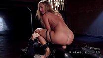 Natural blonde gets slave traning on big cock