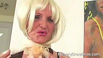 Horny Blonde Granny Whore Fucks Younger