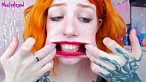 Ginger slut huge cock mouth destroy uglyface ASMR blowjob red lipstick