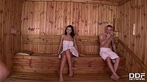 Sensual pussy licking in the sauna with Nicole Smith & Kira Queen