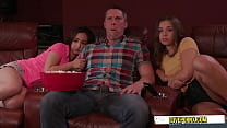 TWO step daughter HAVE FUN  with dad watching movie