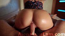 MILF Oil Big Ass Cowgirl on Dick her Neighbor and Cum on Pussy POV