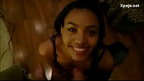 Cute amateur ebony interracial blowjob