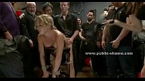 Busty slut tied in public group sex
