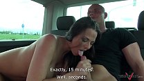 Busty running brunette convinced to come in van where fucked by horny stranger