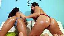 Amateur BFFs Kiki and Mia Ass Worship Twerking in Bodysuit Thong