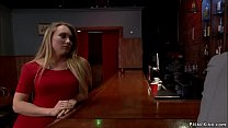 Blonde is tied and anal fucked in bar