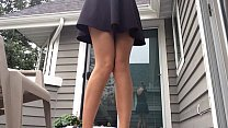 Upskirt milf pees standing on porch