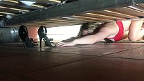 Stepmom stuck under the bed gets creampie from stepson - Erin Electra