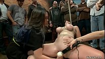 Busty redhead toyed in public disgrace