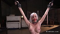 Busty blonde whipped and banged