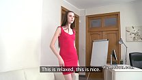 Slim long haired babe banged at casting