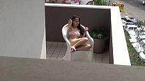 Caught spying my neighbors daughter masturbating on her balcony