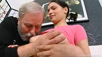 Diana moans when old dude licks her hairy pussy