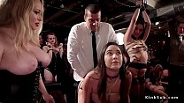 Huge tits mistress controls her slaves at party