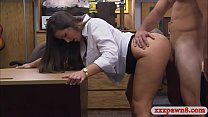 Round ass woman sits on pawn mans shaft
