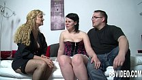 German wench in high heels gets nailed in threesome