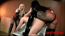 Two Mistress fucking a lucky slave