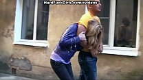 Sexy blonde caught and fucked in an abandoned house