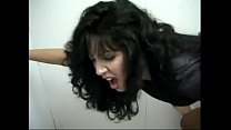 Stud pulls hot MILF Ariel Cassidine's hair while he pounds her doggy style in the loo