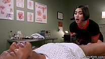 Asian dom doctor strokes black slaves dick