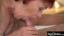 Granny Marsha got pounded by Rob's young cock in her bed