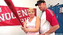 Horny blonde Maya Hills seduces her her coach in the locker room