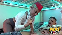 Fake Hostel Flight Attendants in pantyhose surprise young guest