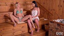 Lesbian sauna sluts Nikky dream & Loren Minardi go Anal