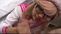 Pink Japanese schoolgirl cosplay blowjob