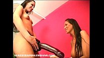 Giant strapon dildo makes her squirt