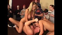 Horny frat guys get two sweet ass coed babes Haley Paige and Allysin Chaynes to suck twats and fuck on table a front of few spectators