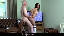 Young busty wife fucking old hubby cock deepthoat sucking cum in mouth