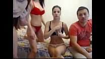 threesome with two young teens on webcam - teens3k.com