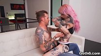 Crazy tattooed vamp Sydnee Vicious loves getting her pussy pounded hard and deep by a giant cock.
