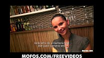 Stunning Czech bartender is paid for a sex session at work