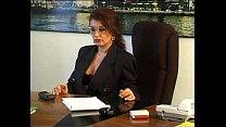 A goofy boy facing the sexy principal dreams to fuck her on the desk!