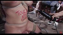 Busty brunette tied with and on bdsm devices then f. to fuck