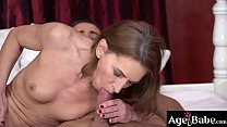 Lusty granny Viol is all wet for Mugur's young massive dick