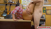 Pretty amateur brunette cowgirl analed in the backroom