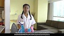OPERACION LIMPIEZA - Latina Colombian maid pussy licking boss in lesbian fuck