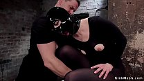 Gimp sub and brunette are fucked bdsm