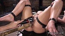 Gagged blindfolded slave in device bondage