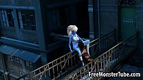 3D cartoon blue lesbian babe getting licked outdoors