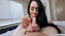 Stepson is super turned on by his smoking hot stepmom and lets her grab his cock and blow him hard