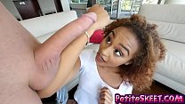 Petite ebony teen Nami Dahlia has a small frame and a big appetite for cock