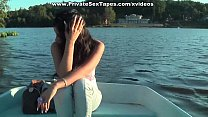 Hot couple naked and pairing off heavily in the boat