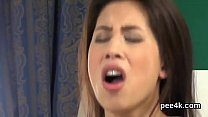 Luscious stunner gets her narrow kitty total of warm pee and ejaculates